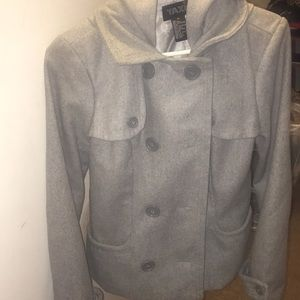 Grey hooded quarter length pea coat great conditio
